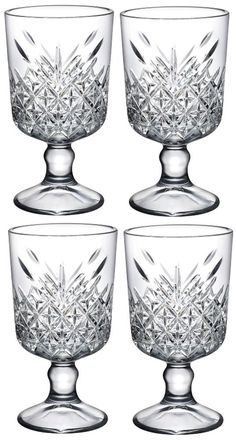 Set of 4 Melodia Style Stemmed Wine glass Cocktail Class Ice Cream Sundae Dishes #Pasabche