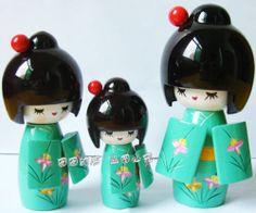 Lovely Japanese Wooden Kokeshi Doll Oriental Handicraft Girl Kimono Cute-S+M+L3#