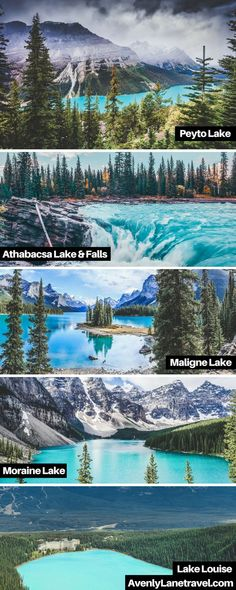 Incredible turquoise blue lakes in Alberta, Canada! Melting glaciers may create some very cold water, but the combination of light refracting of rock flour ground up by the glaciers creates the brilliant emerald glow of these lakes. Some of these lakes i Moraine Lake, Lac Moraine, Lake Moraine Canada, Cool Places To Visit, Places To Travel, Travel Destinations, Places To Go, Alberta Canada, British Columbia