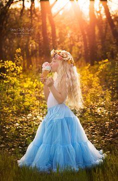 ice cream, summer, blue, sunset