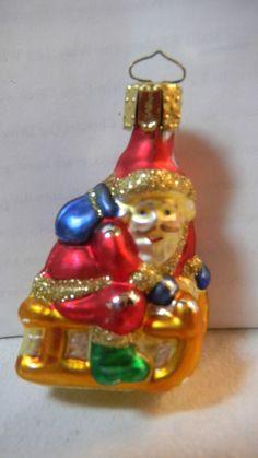 "MINI BLOWN GLASS CHRISTMAS ORNAMENT SANTA CLAUS ON SLEIGH & BAG OF GIFTS 3"" TALL"