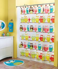 """Decorate your bath with the colorful and expressive owls in this collection. Dozens roost on the vinyl Shower Curtain (70"""" x 72""""). Hang it with the owl-shaped Set of 12 Shower Curtain Hooks (3""""). The green Soap/Lotion Pump (6-1/2"""" x 3"""" dia.) can hold your favorite liquid soap or moisturizer. 3-D owls decorate every side of the Toothbrush Holder (3-3/4"""" x 3"""" sq.)."""
