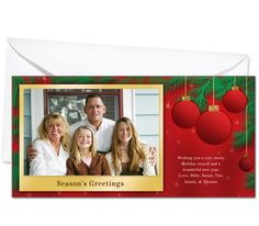Photo Cards : Red Christmas Holiday Photo Card Template