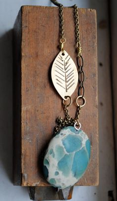 Feather Stamped Brass and Snake Skin Jasper Long by seaworthy send    WANT