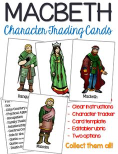 Looking for a fun way to track the various characters within Macbeth? This activity can be completed as students get to know the characters throughout the play, or as an end of unit activity. Shakespeare Words, Shakespeare Macbeth, William Shakespeare, Education English, Teaching English, Macbeth Characters, British Literature, Secondary Teacher, English Lessons