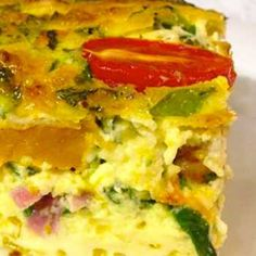 Hot or cold, this savoury baked egg and vegetable custard (crustless quiche) is amazingly tasty and a great way to use up leftover meat and veggies.