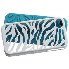 Natural Tropical Teal Zebra Skin/Ivory White Fusion Protector Faceplate Cover For APPLE iPhone 4S/4/4G (Wireless Phone Accessory)