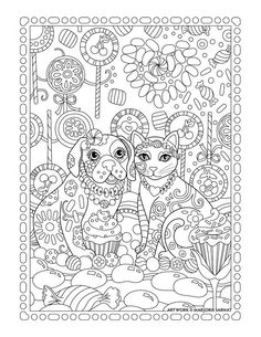 lollipop garden dog and cat ~ Pampered Pets Adult Coloring Book by Marjorie Sarnat Davlin Publishing Dog Coloring Page, Printable Adult Coloring Pages, Cute Coloring Pages, Animal Coloring Pages, Coloring Pages To Print, Coloring Books, Diy Y Manualidades, Cat Colors, Fabric Painting