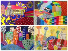 "5th Grade Folk Art Landscapes from ""For the love of Art"" Blog"