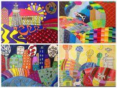 "5th Grade Folk Art Landscapes from ""For the love of Art"" Blog"