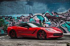 #SaviniDiamond Wheels Lazio in Custom Red and Black on a #ChevroletCorvette Stingray C7. #Chevrolet #Chevy #Corvette #Stingray #C7 #SaviniWheels - http://tinyurl.com/Savini-Diamond