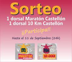 ¡Sorteo de un dorsal para la Maratón / 10 Km de Castellón 2014 Corre gratis en Castellón!  Sorteamos dos inscripciones para la Maratón y 10 Km de Castellón del 7 de Diciembre. Simplemente, tienes que rellenar antes del Jueves, 11 de Septiembre de 2014 a las 24h el formulario de reserva de plaza en el viaje organizado y automáticamente participarás en el sorteo de una inscripción para la Maratón o de una inscripción para la carrera de 10 Km (tú escoges tu distancia)