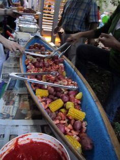 The shrimp boil was served in a big blue boat. Shrimp Boil Party, Crab Party, Crawfish Party, Seafood Party, Fish And Seafood, Seafood Dishes, Seafood Recipes, Seafood Broil, Crab Feast