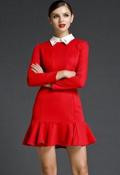 Vestido volante solapa cristal manga larga-Rojo EUR€36.86