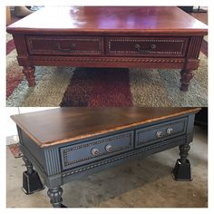 Refurbished Coffee Tables, Coffee Table Refinish, Coffee Table Makeover, Painted Coffee Tables, Diy Coffee Table, Refurbished Furniture, Coffee Table Upcycle Ideas, Diy Furniture Renovation, Diy Furniture Projects