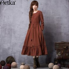 Artka Women's Maxi Long Dress 2017 Vintage Dress Women Long Sleeve Autumn Dress Female Linen Embroidery Dress Vestidos LA11663Q