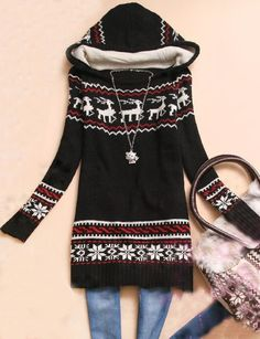 To find out about the Black Hooded Long Sleeve Deer Print Sweater at SHEIN, part of our latest Sweaters ready to shop online today! Christmas Dress Up, Cute Christmas Sweater, Christmas Party Outfits, Holiday Sweaters, Hot Outfits, Sweater Outfits, Fall Outfits, Casual Outfits, Fashion Outfits