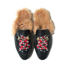 Embroidered Snake Appliqué Rabbit-Fur Lined Princetown Slippers Mules / Loafers  #shopfashionweek #Mules #Casual