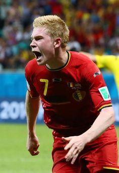 Kevin De Bruyne of Belgium celebrates after scoring his team's first goal in extra time during the 2014 FIFA World Cup Brazil Round of 16 match between Belgium and the United States at Arena Fonte Nova on July 1, 2014 in Salvador, Brazil.