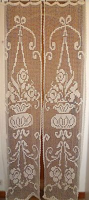 Pair of Vintage French Art Deco Filet Lace Curtain Panels