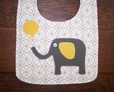 Bib, baby boy bib, unique handmade baby gift, adorable homemade elephant applique, designer fabric, three absorbent layers. $9.00, via Etsy.