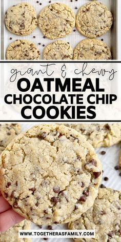Giant & chewy Oatmeal Chocolate Chip Cookies are thick and soft-baked with hearty oats and chocolate chips. These cookies bake up perfectly round, thick, and delicious.