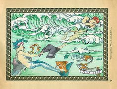 The Stolen Swimsuit. A painting of gay love, by Felix d'Eon, in vintage style. Charming mermen and nude boys!