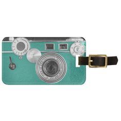 Sold! Thank you! Teal Vintage Camera Luggage Tag #teal #vintage #camera #luggage #tags