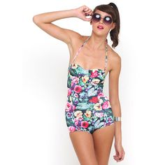 Motel Peridot Halterneck Swimsuit in Cottage Garden Floral Print ($15) ❤ liked on Polyvore featuring swimwear, one-piece swimsuits, cottage garden floral print, low back one piece swimsuit, vintage style swimsuits, halter top one piece bathing suits, halter one piece swimsuit and low back one piece bathing suit