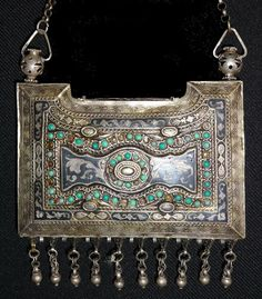 Antique silver gilt temple hanging or pendent from Bukhara in Uzbekistan