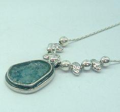 Silver roman glass necklace, Israeli roman glass 89 USD http://www.bluenoemi-jewelry.com/destsiroglpe.html