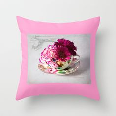 Shabby chic floral Throw Pillow by inkedsandra - $20.00