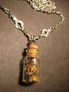 Steampunk Time in s Bottle Necklace with Gears by ClockworkAlley, $32.00
