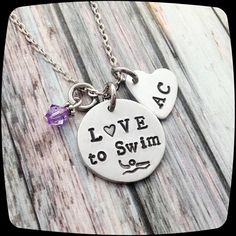 Swimmer Necklace,  swim team Gift, Swim gifts,  Swimming Jewelry, Exercise, Fitness, HandStamped Jewelry
