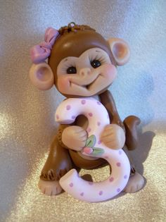 polymer clay monkey third Christmas ornament  childrens by clayqts, $21.95