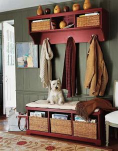 55 Mudroom And Hallway Storage Ideas Shelterness Green Painted Walls, Log Wall, Entry Bench, Hall Bench, Small Hallways, Hallway Storage, Log Homes, Mudroom, Home Design