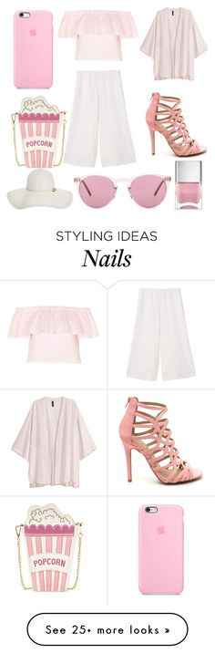 """""""Summer Pastel Pinks"""" by amber-lanehart on Polyvore featuring MANGO, Topshop, Melissa Odabash, Nails Inc. and Oliver Peoples"""
