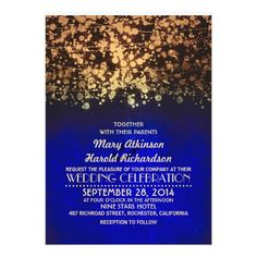 string lights navy & gold vintage glitter wedding invitation navy and gold glamour rustic chic string lights wedding invitations. Customize these invitations / cards / products for your weddings. Vintage Save The Dates, Rustic Save The Dates, Save The Date Postcards, Glitter Wedding Invitations, Engagement Party Invitations, Save The Date Invitations, Rustic Invitations, Shower Invitations, Invites