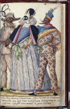 illustration italienne : costumes de fête, 1588 carnaval de Venise, 1580s, 16e siècle