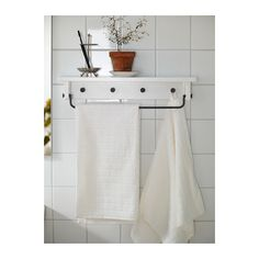 HJÄLMAREN Towel hanger/shelf - white - IKEA