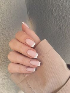 French Tip Acrylic Nails, Simple Acrylic Nails, Pink Acrylic Nails, Simple Nails, French Manicure Nails, Red Gel Nails, Square Acrylic Nails, Edgy Nails, Neutral Nails