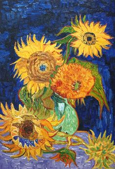 Vase with five sunflowers oil painting reproduction canvas by vincent van gogh on a high quality rolled linen canvas. this is a museum high quality hand Paul Gauguin, Vincent Van Gogh, Van Gogh Pinturas, Van Gogh Sunflowers, Monet, Van Gogh Art, Van Gogh Paintings, Oil Painting Reproductions, Picasso