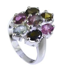 Tourmaline Silver magnificent exporter Ring Multi L-1in UK KMOQ