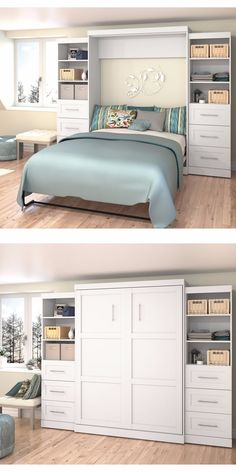 Perfect for the guest room or any place where space is at a premium, this queen-size wall bed provides a sleeping area without taking up valuable living space.