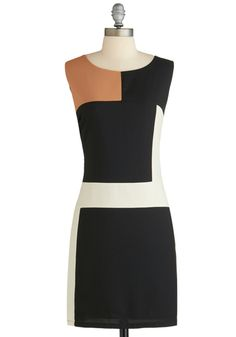 In De Stijl of the Night Dress - Short, Black, Tan / Cream, White, Work, Mod, Colorblocking, Sheath / Shift, Sleeveless, 60s, Exclusives