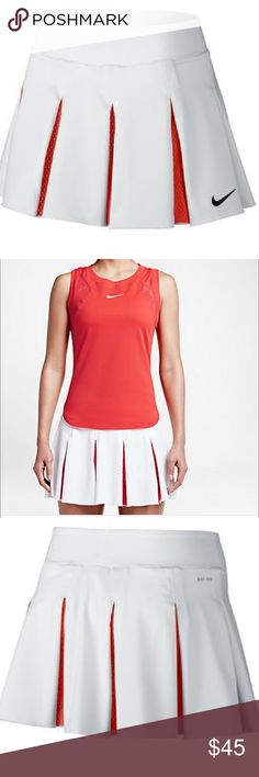 Nike Dri fit Keep it fun and stylish with the Nike Women's Premier Maria Tennis Skort! Features include a built-in short for ball storage, a sleek, feminine fit and lightweight design. For movement enhancement the lightweight woven fabrication has you covered. Dress like Maria in this Dri-FIT skort today! Swoosh design trademark at left knee. Technical Benefits: Dri-FIT Fabric: 85 Polyester 15% Spandex plain jersey. Shirt listed separately Nike Skirts