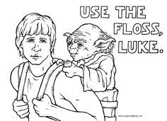 Use the Floss, Luke Wars Page Dental Terminology, Childrens Dentist, Colouring Pages, Coloring, Dentistry, Nerd, Star Wars, Stars, Memes