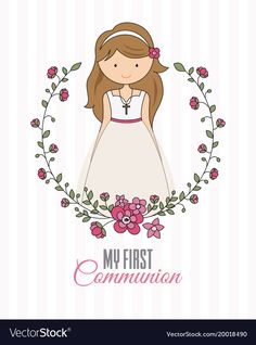 my first communion girl. beautiful girl with communion dress and flower frame Backdrop Design, Banner Backdrop, Première Communion, First Communion, Page Borders Design, Butterfly Quotes, Girl Clipart, Jesus Pictures, Kids Patterns