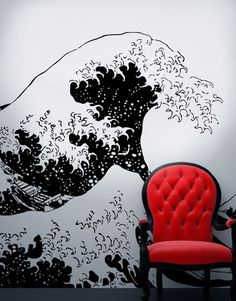 Vinyl Wall Decal Sticker Japanese Great Wave Hokusai #363   Stickerbrand wall art decals, wall graphics and wall murals.