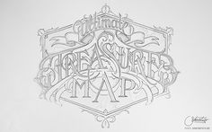 Collection of typographic sketches and illustrations.